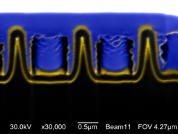 Boston College researchers report their �nanocoax� technology can support a highly efficient thin film solar cell. This image shows a cross section of an 
