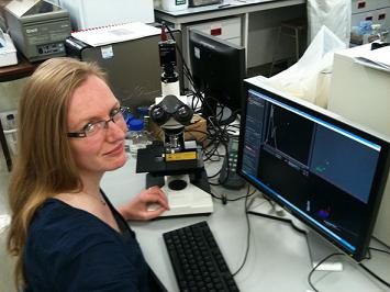 The University of Leicester�s Dr Martha Clokie with her NanoSight LM10 system