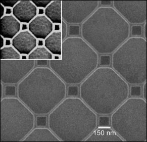 A fragment of a superconducting thin film patterned with nano-loops measuring 150 nanometers on a side (small) and 500 nanometers on a side (large), where the nano wires making up each loop have a diameter of 25 nanometers.