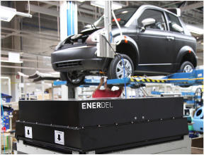 The EnerDel Lithium-Ion battery on the THINK City production line at Valmet Automotive in Uusikaupunki, Finland.