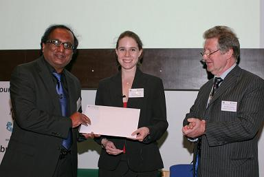Pic left to right is: Venture Prize winners Professor Mohan Edirisinghe and Dr Eleanor Stride receiving award from Mr David Chapman from Armourers and Brasiers Company