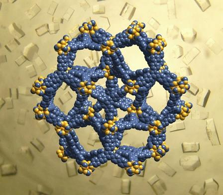 Crystal structure of MOF-200, in UCLA's blue and gold. Atom colors: UCLA blue = carbon, UCLA gold = oxygen, orange = zinc. Optical image of MOF-200 crystals. (Credit: UCLA Department of Chemistry and Biochemistry; UCLA�Department of Energy Institute of Genomics and Proteomics)