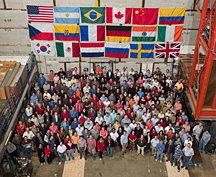 Some of the 500 scientists from 19 countries who are members of the DZero collaboration. (Click image for larger display)
