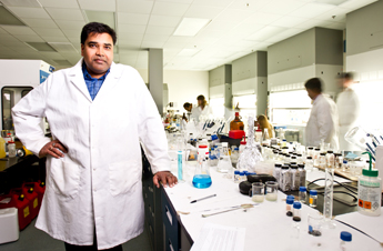 Professor Sudipta Seal works in his lab at the University of Central Florida. Photo: Jason Greene