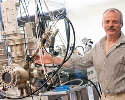 Chris Binns, Professor of Nanotechnology, in the nanoparticle facility at Leicester.