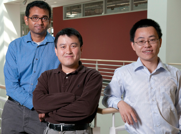 Graduate student Aaswath Raman, Associate Professor Shanhui Fan, and post doctoral fellow Zongfu Yu have calculated that photovoltaic cells built with nanotechnology have the potential to generate far more electricity than existing cells.