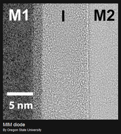 This image of an asymmetric MIM diode reflects a major advance in materials science that could lead to less costly and higher speed electronic products. (Image courtesy of Oregon State University)