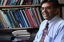 Prof. Mansoor Amiji is working on research that would battle cancer by making tumor cells less aggressive. Photo by Lauren McFalls.