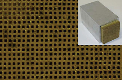 This 3D holey-structured metamaterial can improve the resolution of sonagraphy by a factor of 50, promising better picture quality for ultrasound imaging as well as sonar. (Photo by Xiang Zhang/UC Berkeley, courtesy of Nature Physics)