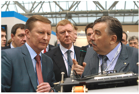 First Deputy Prime Minister Sergei Ivanov, RUSNANO CEO Anatoly Chubais, Director General of NT-MDT Co. Viktor Bykov