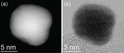 Atomic resolution images of the palladium-cobalt nanoparticle, before platinum deposition. Muller Lab
