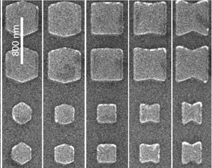 Electron micrograph of nanofabricated magnetic nanostructures, where the magnetic properties are controlled via the structure's geometry and size.