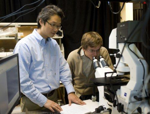 Jong Hyun Choi, an assistant professor of mechanical engineering at Purdue, and doctoral student Benjamin Baker use fluorescent imaging to view a carbon nanotube. Their research is aimed at creating a new type of solar cell designed to self-repair like natural photosynthetic systems. The approach might enable researchers to increase the service life and reduce costs for photoelectrochemical cells, which convert sunlight into electricity. (Purdue University photo/Mark Simons)