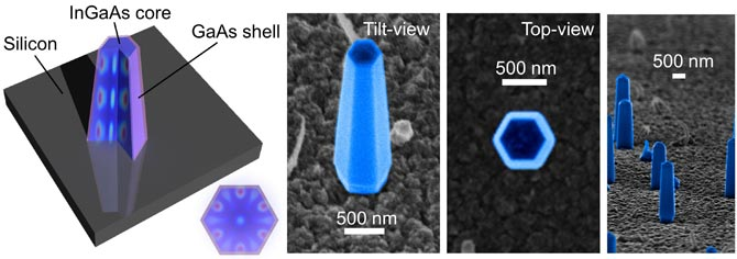Shown is a schematic (left) and various scanning electron microscope images of nanolasers grown directly on a silicon surface. The achievement could lead to a new class of optoelectronic chips. (Courtesy Connie Chang-Hasnain Group)