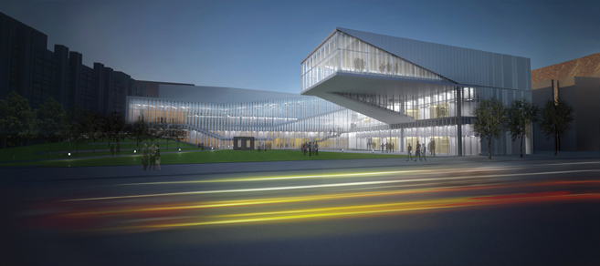 A rendering of the exterior of the Krishna P. Singh Nanotechnology Center at night along Walnut Street, from the architect Weiss/Manfredi Architecture.