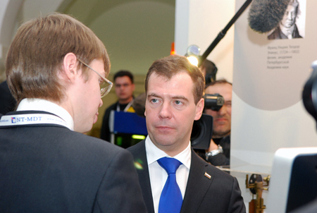 The President of the Russian Federation Dmitry Medvedev and an engineer