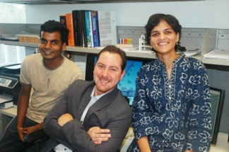 Rice researchers -- from left, Avishek Saha, Professor Angel Marti and Disha Jain -- found an efficient way to both dissolve and functionalize carbon nanotubes in a solution.