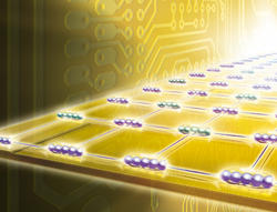 Quantum antennae enable the exchange of quantum information between two separate memory cells located on a computer chip. (Graphics: Harald Ritsch)