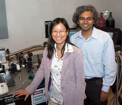 Engineering professors Bo Tan (left) and Krishnan Venkatakrishnan share a lab and a focus on nanostructures, an emerging field of study.