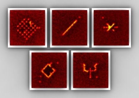 With the addressing scheme arbitrary patterns of atoms in the lattice can be prepared. The atomic patterns each consist of 10 - 30 single atoms that are kept in an artificial crystal of light. (High resolution images available online at www.quantum-munich.de/media)