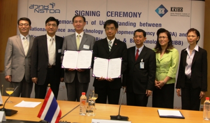 L-R: Dr. Choe and Dr. Thaweesak (holding the signed MOU)