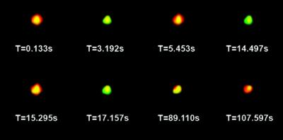Researchers at Ohio State University have invented fluorescent nano-particles that change color to tag molecules under the microscope. This series of photos shows a particle changing from red to green -- and, at the 89-second mark, to yellow -- over the course of two minutes.