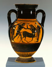 Attic black-figure amphora (JPGM 88.AE.24, 530 - 520 B.C.) Herakles Attacking a Centaur.