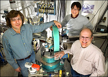 Alexei Tkachenko, Htay Hlaing and Ben Ocko at an experimental end station at the NSLS.