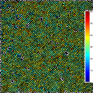 This is an orientation map of a spin-cast array of FePt nanoparticles. Most nanoparticles are enclosed by a hexagon of six neighboring nanoparticles. Each nanoparticle was color coded according to the angle (in degrees) of the hexagon's orientation.