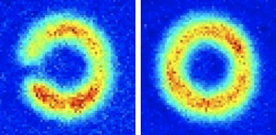 "Atom circuit: False color images of an ""atom circuit"" made of an ultracold sodium gas. Red denotes a greater density of atoms and traces the path of circulating atoms around the ring. A laser-based barrier can stop the flow of atoms around the circuit (left); without the barrier the atoms circulate around the ring (right).