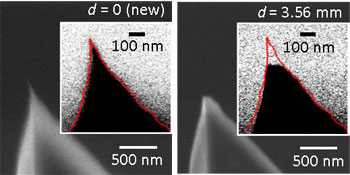 As an atomic force microscope�s tip degrades, the change in tip size and shape affects its resonant frequency and that can be used to accurately measure, in real time, the change in the tip�s shape, thereby resulting in more accurate measurements and images at nanometer size scales.