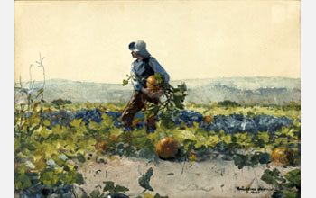 Winslow Homer (1836-1910) For to Be a Farmer's Boy 1887 (Gift of Mrs George T. Langhorne in memory of Edward Carson Waller, AIC 1963.760). This image had long puzzled scholars due to the seemingly unfinished and flat sky in a highly finished work.