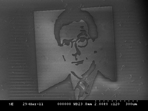 "The smallest likeness of Stephen Colbert in the world, ""Micro Colbert"". 