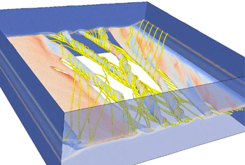 "New LANL 3-D model shows the formation of ""flux ropes"" in a thin boundary layer of a magnetic field. This research seeks to uncover the most fundamental physics of magnetic reconnection, key to a better understanding of Earth's magnetosphere. LANL image."