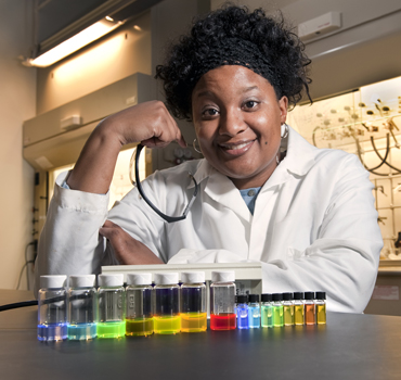 Malika Jeffries-EL and her Iowa State University research group are studying polymers that can conduct electricity. Photo by Bob Elbert.