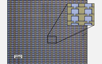 Optical micrograph of an array of graphene transistors prepared on silicon carbide (SiC). There are 40,000 devices per square centimeter.