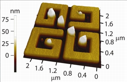 Surface plasmon patterns can be imprinted on metallic nanostructures for subsequent high resolution imaging with standard surface probe techniques.