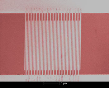 Colorized micrograph of an ultrafast single-photon detector made of superconducting nanowires. NIST researchers use electron beam lithography to pattern the nanowires (vertical lines) on a thin film of tungsten-silicon alloy, which produces more reliable signals than the niobium nitride material used previously.