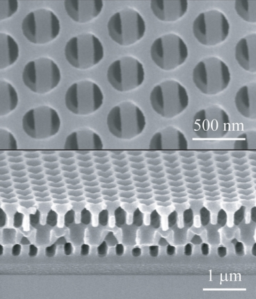 The new 3D nanofabrication method makes it possible to manufacture complex multi-layered solids all in one step. In this example, seen in these Scanning Electron Microscope images, a view from above (at top) shows alternating layers containing round holes and long bars. As seen from the side (lower image), the alternating shapes repeat through several layers.