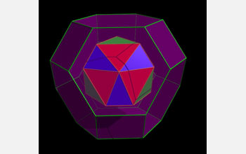 This image is a simplified representation of a compound (red, blue and green) nesting inside a single truncated octahedron (purple).