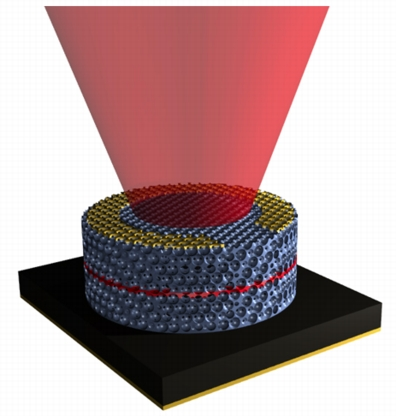 Using an epitaxial approach, researchers developed a 3-D photonic crystal LED, the first such optoelectronic device. | Graphic by Eric Nelson