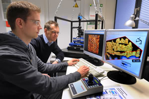 Professor Robert Magerle (right) watches Eike-Christian Spitzner working with the