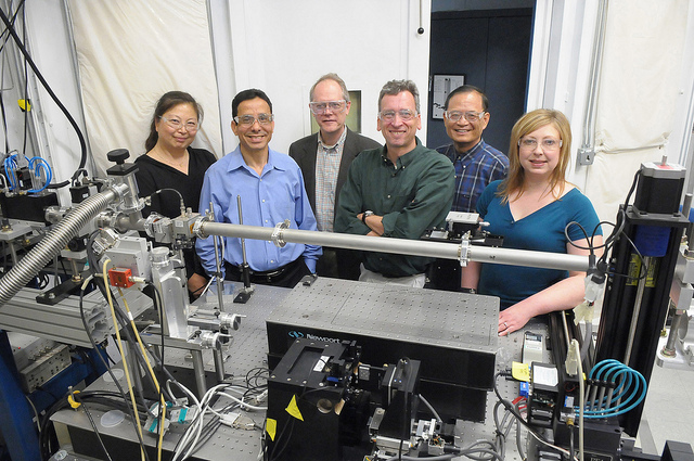 "A team of researchers at Argonne has developed the new ""multilayer Laue lens,"" that will let scientists study the nanoscale in greater detail than ever before. From left to right: Bing Shi, Lahsen Assoufid, Brian Stephenson, J�rg Maser, Chian Liu, Lisa Gades."