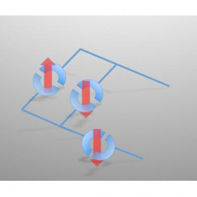 In future, X-ray beams could be used to write superconducting circuits, such as those depicted in the image. Here, solid lines indicate electrical connections while semicircles denote superconducting junctions, whose states are indicated by red arrows.