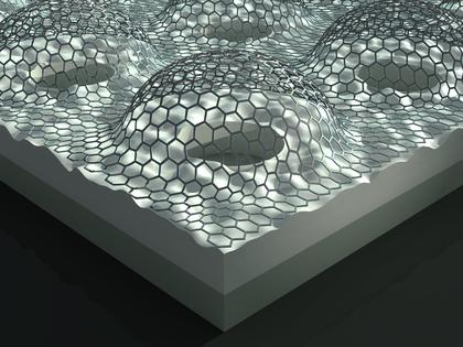An artist's rendering of an array of pressurized graphene membranes. A CU-Boulder team recently discovered that graphene has surprisingly high adhesion properties, findings that may help lead to the development of new graphene-based mechanical devices like gas separation membranes. (Illustration courtesy Victor Tzen and Rex Tzen.)