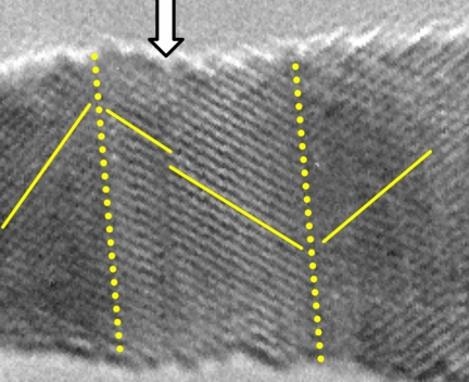 A single crystal nanowire shows evidence of twinning under tensile loading in this electron microscope image. A new study by the Rice University lab of Jun Lou determined that tiny gold wires change their behavior at the nanoscale. (Credit: Lou Lab/Rice University)
