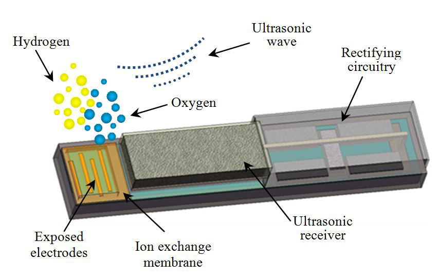 This diagram shows the design of a miniature device that can be implanted in tumors to generate oxygen, boosting the killing power of radiation and chemotherapy.
