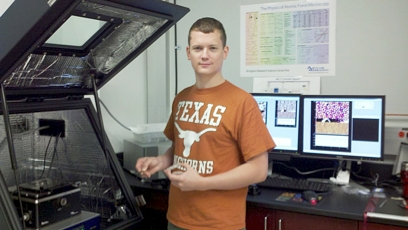 Dr. Alex Veneman in the Stevenson Research group at UT-Austin preps a sample for Scanning Kelvin Probe Microscopy.