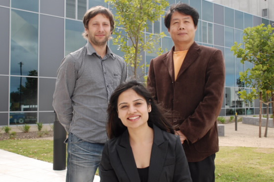 PhD candidate Priyanka Jood is pictured with her supervisors Dr Germanas Peleckis and Professor Xiaolin Wang