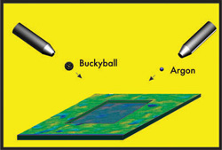 The rectangular depression is the result of multiple bombardments of the surface with buckyballs and argon during a depth-profiling procedure. Image: Zbigniew Postawa, Jagiellonian University, Poland